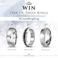 Don't miss a chance to WIN a gold, tungsten or cobalt men's wedding band. All you have to do is share your happy moment with us!  The 3 winners will receive: 1.A gold men's wedding band 2.A tungsten men's wedding band 3.A cobalt men's wedding band  To entert: 1.Like CrownRing on Facebook  2.Follow CrownRing on Instagram (Crown_Ring) & Twitter @crown_ring 3.Post a picture of your engagement or proposal on Instagram & tag it #CrownRingKing 4.Wait for the 3 winners to be announced on March 30th
