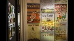 """Linda Hunt's recently renovated Craftsman  """"From the minute I started saving them, I knew I wanted to do something with them,"""" said Hunt, who meticulously laid the New Yorker covers out on the floor and selected each cover for placement on a bathroom's walls.  http://www.latimes.com/la-hm-0927-linda-hunt-house-pictures-006-photo.html"""