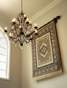 Glamorous tapestry wall hangings Decoration ideas for Traditional area rug baseboards crown molding dark floor lanterns neutral colors pendant lighting table lamp trestle desk wall decor wall tapestry white wood wood trim Metal Wall Decor, Diy Wall Decor, Entry Foyer, Entryway Decor, Le Foyer, Entrance Hall, Front Entry, Old Fashioned Christmas Decorations, Floor Lanterns