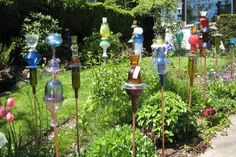 Fun and funky recycled glass objects for garden votives