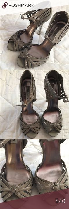 Peep Toe Stiletto Heels Taupe Peep Toe Stilettos. Studded. Buckle Fasten. Good Condition. Heel: 3.5in. Gray/Brown. Patent sheen--unsure if genuine leather. Heels/Sandals. REASONABLE Offers WILL be Accepted Steve Madden Shoes Heels