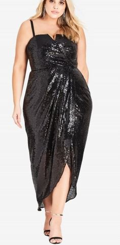 Find City Chic Siren Sequin Convertible Strapless Gown (Plus Size) online. Shop the latest collection of City Chic Siren Sequin Convertible Strapless Gown (Plus Size) from the popular stores - all in one Plus Size Sequin Dresses, Plus Size Cocktail Dresses, Dress Plus Size, Curvy Fashion, Plus Size Fashion, Women's Fashion, Fashion Dresses, Fashion Women, Winter Fashion
