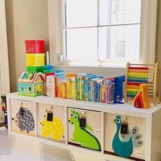 hat a wonderful storage unit made by using some adorable toy storage boxes by 🎁 I love the idea of kids being able to reach out Playroom Organization, Playroom Ideas, Ikea Playroom, Storage For Playroom, Ikea Kallax Nursery, Ikea Kallax Boxes, Playroom Bench, Childrens Bedroom Storage, Organized Playroom