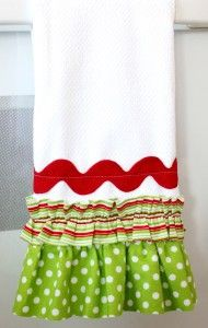 embellished tea towels to add to cookie/bread gifts for neighbors and friends for Christmas.