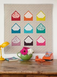 """You've Got Mail"" wall hanging by Kelly Liddle. The envelope quilt block would make a great signature quilt!"