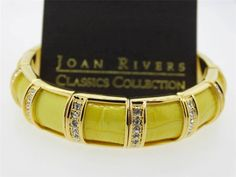 Joan Rivers Faux Croco Embossed Yellow Leather and Crystal Stretch Bracelet.