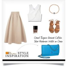 """""""::STYLE INSPIRATION – Chanel Turqoise Grained Calfskin Silver Hardware Wallet on Chain::"""" by the-attic-place on Polyvore"""