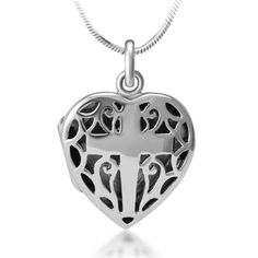 925 Sterling Silver Open Filigree Christian Cross Heart Shaped Locket Pendant Necklace, 18 inches ** Click image for more details.