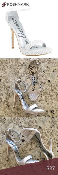 "SAM EDELMAN ELEANOR WHITE GREY HEELS A daring sky-high stiletto takes this platform sandal to new heights. The snake-embossed upper and pretty ankle strap keep this look on trend. 4 1/2"" heel; 1/2"" platform  Adjustable ankle strap with buckle closure Leather, suede or synthetic upper/synthetic lining and sole True to size                                                                       GENTLY USED Sam Edelman Shoes Heels"