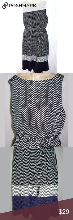 """Liz Claiborne chevron matte Jersey Dress L new Original price $70.00 Sz. Large ladies NWT from a major Department Store. Bold zigzag chevron print in black and white, purple and black print at the bottom, belted around the waist, sleeveless dress •39 """" length from shoulder •chest 20"""" flat •polyester/spandex •machine wash, line dry .  Color: Black, purple and white Brand: Liz Claiborne Liz Claiborne Dresses Midi"""
