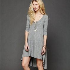Free People Drippy Jersey Dress Like new, hi low, long sleeve Flowy dress Free People Dresses Mini