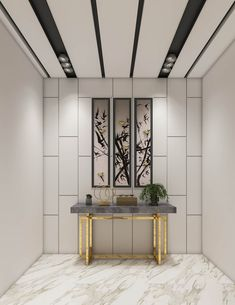 Repeated geometric patterns, materials and colors combined with curated accent pieces give this luxury contemporary villa interior design an elegant aura. Office Ceiling Design, Foyer Design, Lobby Design, False Ceiling Design, Wall Design, Showroom Interior Design, Luxury Interior, Home Entrance Decor, Entrance Foyer