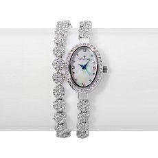 Croton Silvertone Crystal Wrap Bracelet Watch
