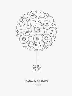D Wedding by Črtomir Just, via Behance - elegant lettermark & organic illustration