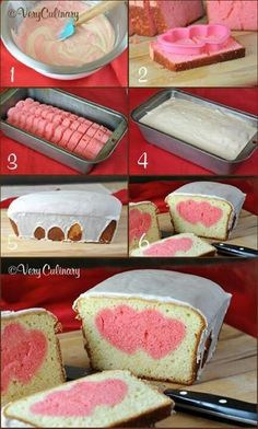 DIY Heart Cake. You can do any shape like this! Valentines surprise bread.