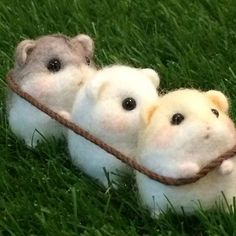 Cute Needle felting wool mice(Via @hapipupetto)