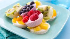 Love this! Healthy Frozen Yogurt Bites recipe using fresh fruit, at Tablespoon. Great treat or healthier dessert for kids...or us!