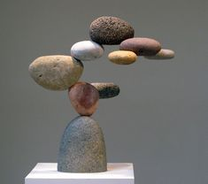 Woods Davy-- stone and (hidden) steel sculptures I like this sculpture because it looks like the rocks are floating Rock Sculpture, Steel Sculpture, Abstract Sculpture, Stone Sculptures, Stone Crafts, Rock Crafts, Deco Nature, Pebble Art, Stone Art