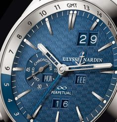 The new, limited edition Ulysse Nardin Perpetual Calendar Manufacture sports a platinum case with blue wave dial and the automatic mechanical Fine Watches, Cool Watches, Watches For Men, Luxury Watches, Rolex Watches, Gentleman Watch, Perpetual Calendar, Casio G Shock, Beautiful Watches