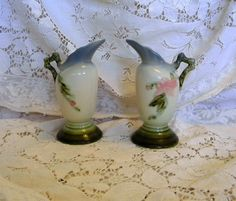 Pair Hull Woodland blue vases 2 matched by TreasuresFromTexas, $95.00