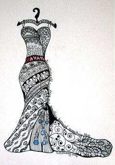 """Zentangle Wedding dress - """"Something old, something new, something borrowed, something blue"""""""