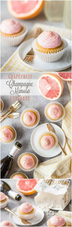 Grapefruit Champagne Mimosa Cupcakes: So light and fluffy, with a sweet, citrus-y zing and a gorgeous pink color! Perfect for New Years Eve or a girl's party. #BakeYourPassion #sponsored @White Lily