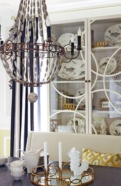 wood bead chandy + white hutch