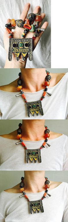 Necklaces and Pendants 98481: Antique Berber Silver, Amber And Coral Necklace. Tazelagt. Sterling Silver Hertz -> BUY IT NOW ONLY: $785 on eBay!
