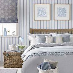 Pale country blue striped bedroom | Decorating with pale blue | Decorating | housetohome.co.uk
