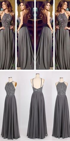 Popular sexy blackless grey prom dress, evening dress.