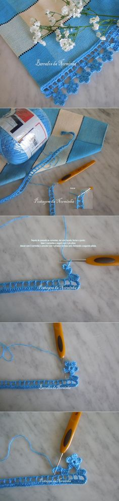 """[ """"Border hook to the master class."""", """"love this edging"""", """"Find and save knitting and crochet schemas, simple recipes, and other ideas collected with love. Crochet Boarders, Crochet Lace Edging, Crochet Art, Love Crochet, Irish Crochet, Crochet Crafts, Crochet Doilies, Crochet Flowers, Crochet Projects"""