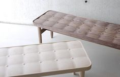 """Taiwan based company Rüskasa draws inspiration from Scandinavia and Asia to produce modern-day heirloom pieces. The maple and walnut """"tufted wooden benches"""" shown here, are all laboriously and meticulously crafted by hand."""