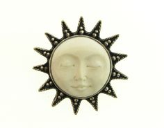 Sterling Silver Carved Bone Moon Face Burst Bali Pin, $70.00