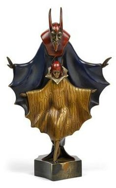 Art Deco Mephisto sculpture by Roland Paris, c. 1920, patinated and gilt bronze, mounted on marble base, height 40 cm     SOLD $17,000 5/20/2014