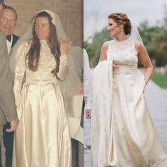 The same dress worn 45 years later. Although, the dress is 70 years old. Vintage wedding gown. Moms wedding dress redone