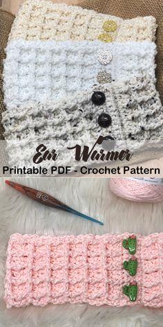 Make a Cozy Ear Warmer – Beate Kickner - Crochet Crochet Headband Free, Cute Crochet, Crochet Crafts, Crochet Baby, Crochet Projects, Knit Crochet, Crochet Ear Warmer Pattern, Easy Crochet Patterns, Crochet Stitches