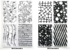 Background Sets -- 2 Clear Acrylic Stamp Set - 8 Precut Images NEW