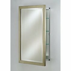 """Basix Recessed Medicine Cabinet Finish: Antique Silver, Size: 16"""" x 26"""" by Afina. $244.99. SD1626RBSXSV Finish: Antique Silver, Size: 16"""" x 26"""" Construction: -Fully Recessed or Surface Mount Hinged Left or Right 3/4 Front Bevel Mirror Wood Construction Adjustable 3/8 Glass Shelves."""