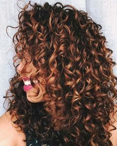 Image Result For Long Curly Hair Copper Highlights Hair Styles Curly Hair Styles Naturally Curly Hair Styles