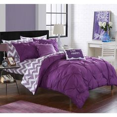 Shop for Chic Home Foxville Purple 9-Piece Bed in a Bag Comforter Set. Get free delivery at Overstock.com - Your Online Kids'
