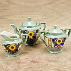 Vintage Porcelain Lusterware 5pc Tea Set Pot Sugar Creamer Green Flowers Japan