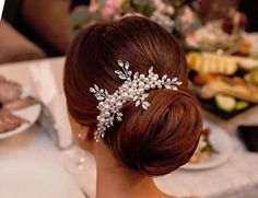 Pearl Crystal Wedding Hair Comb, Bridal Hair Comb, Rhinestone Hair Comb, Bridal headpiece, Bridal Hair accessories, Wedding hair accessories This sparkle pearls and crystals hair comb features a very beautiful elegant vintage style. This gorgeous high quality hair comb is perfect for Bridal to wear on her big day. Color: Silver Material: Top quality pearls and crystals, metal base comb Adornment measurement: 14cm-5 inches long, 5cm- 3 inches wide Comb Measure: 3 inches wide, and 1.5 inches…