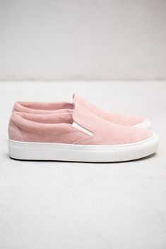 Blush suede slip-on sneakers
