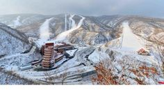 Aerial View of North Korea Ski Resort at Masik Pass