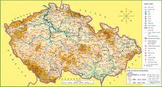 Large detailed tourist map of Czech Republic Tourist Map, Central Europe, Czech Republic, Places To See, Vintage World Maps, Diagram, Family Genealogy, Education, Cusco