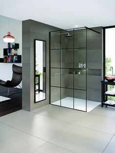 Matki-ONE Wet Room Panel with Crittall Glass. Available to order from Matki Bathroom Shower Panels, Bathroom Paneling, Shower Screen, Shower Doors, Bathroom Faucets, Bathroom Interior, Master Bathroom, Bathroom Ideas, Steam Shower Enclosure