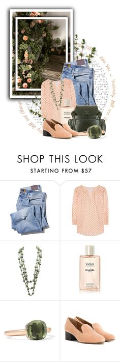 """""""Untitled #10703"""" by queenrachietemplateaddict ❤ liked on Polyvore featuring Velvet, Chanel, Pomellato, Chloé, peach, GREEN, Flowers and roses"""