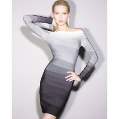 HERVE LEGER Gray Ombre off-the-Shoulder Long Sleeve Bandage Dress Size XS $400