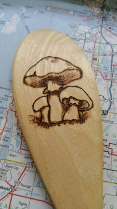 Mushroom Wood Burned Spoons Pyrography Wooden by IndigoSpoons