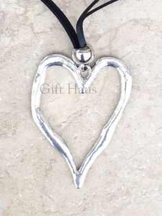 90 best jewelry images on pinterest chain costume jewelry and hangers large abstract metal silver heart pendant on a long black cord new aloadofball Choice Image